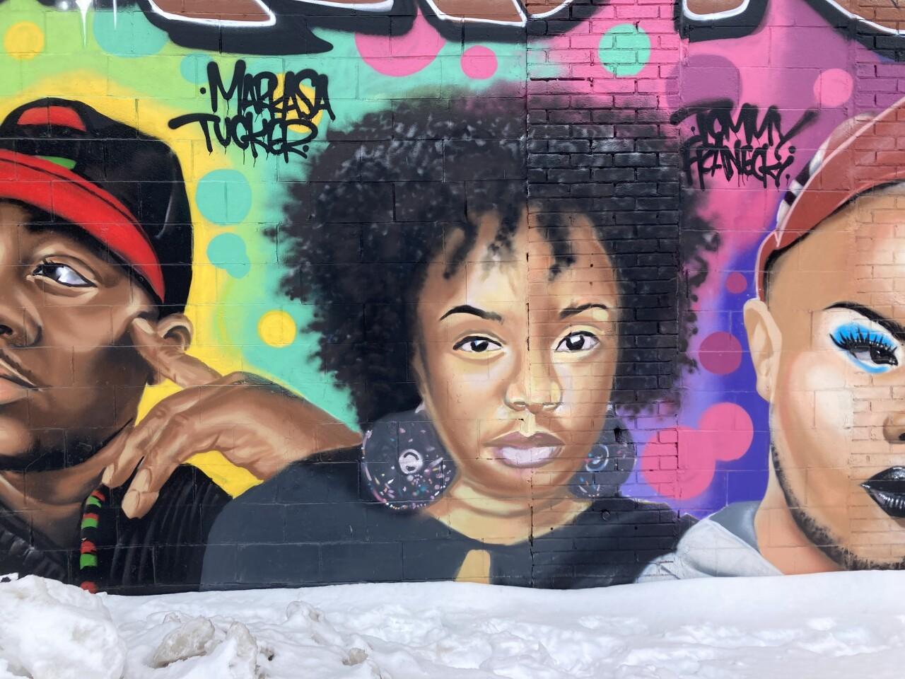 Markasa Tucker on the Activist Mural near 14th & Vliet