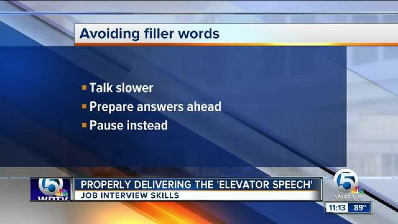 Tips on delivering an 'elevator speech' during a job interview