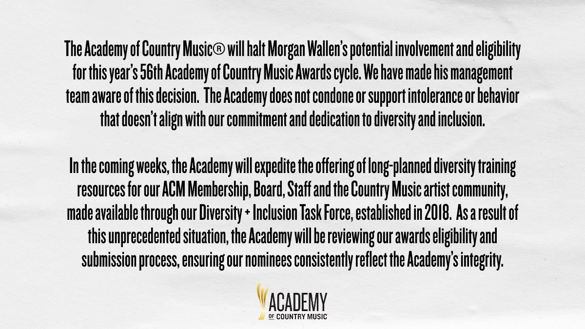 The Academy of Country Music Statement