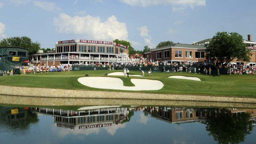 A view of the 18th green at Colonial Country Club during the 2010 tournament.