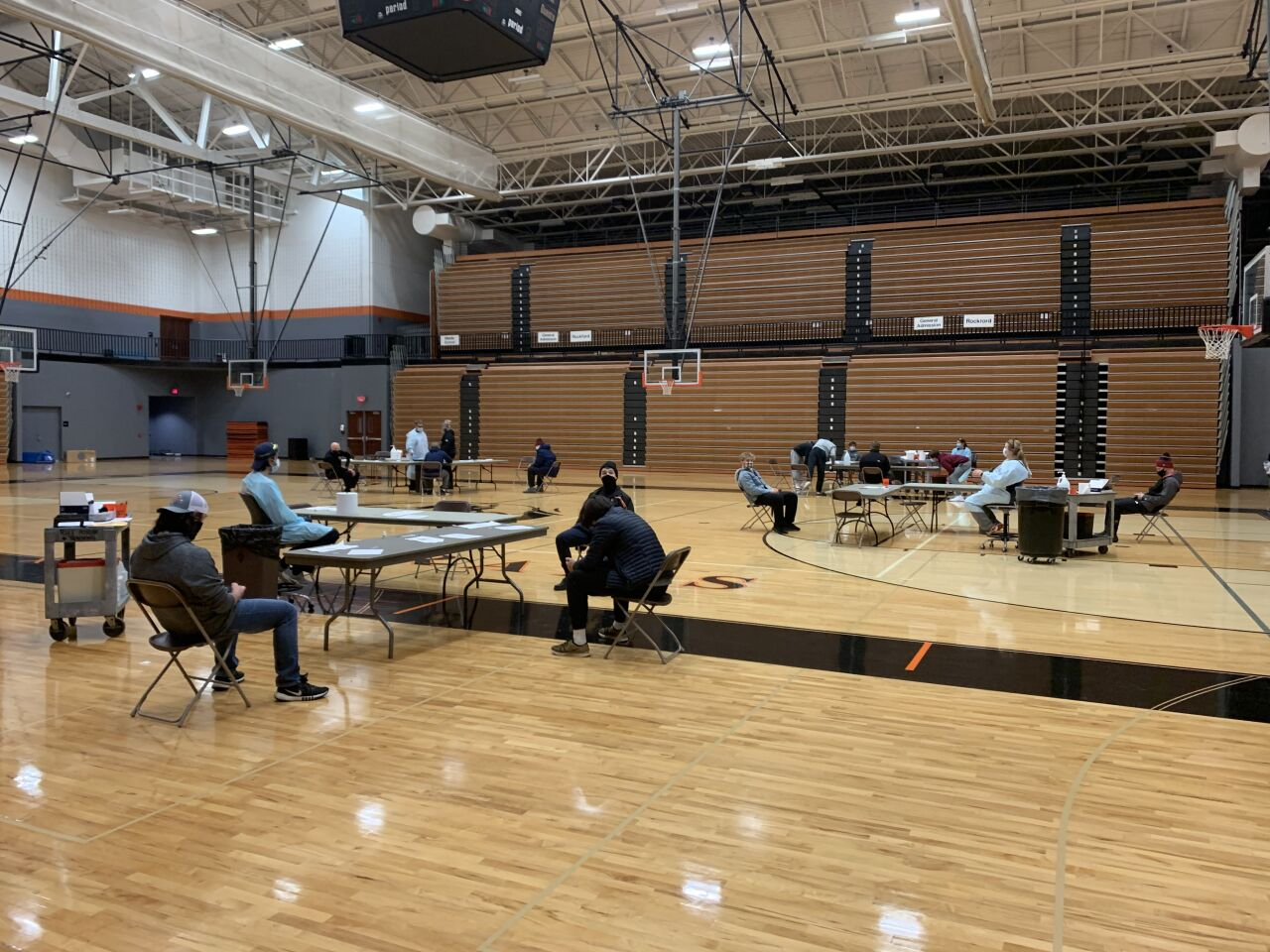 Rockford's gymnasium set up for COVID-19 rapid testing