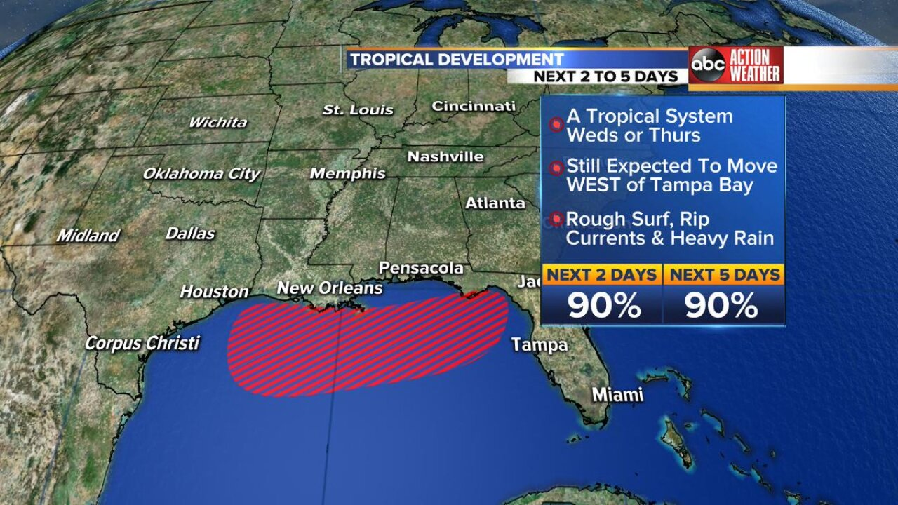 100% chance of tropical depression forming in Gulf of Mexico, could strengthen to hurricane