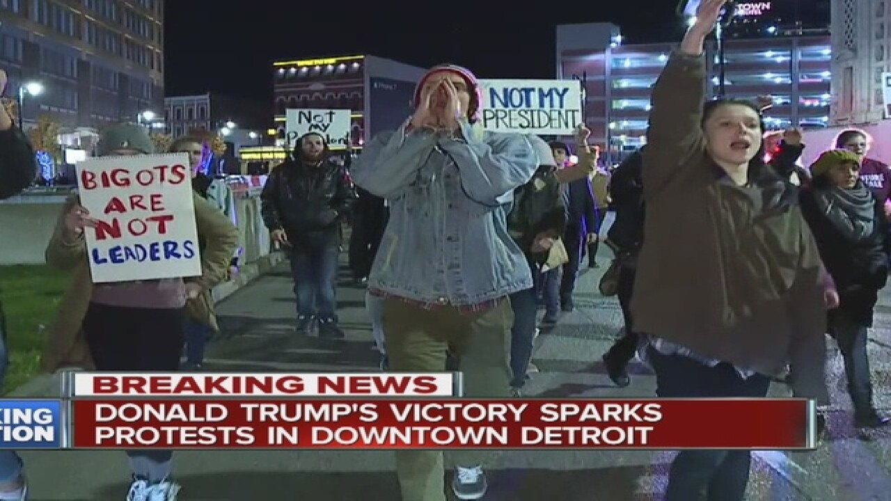 Trump victory sparks protest in Detroit