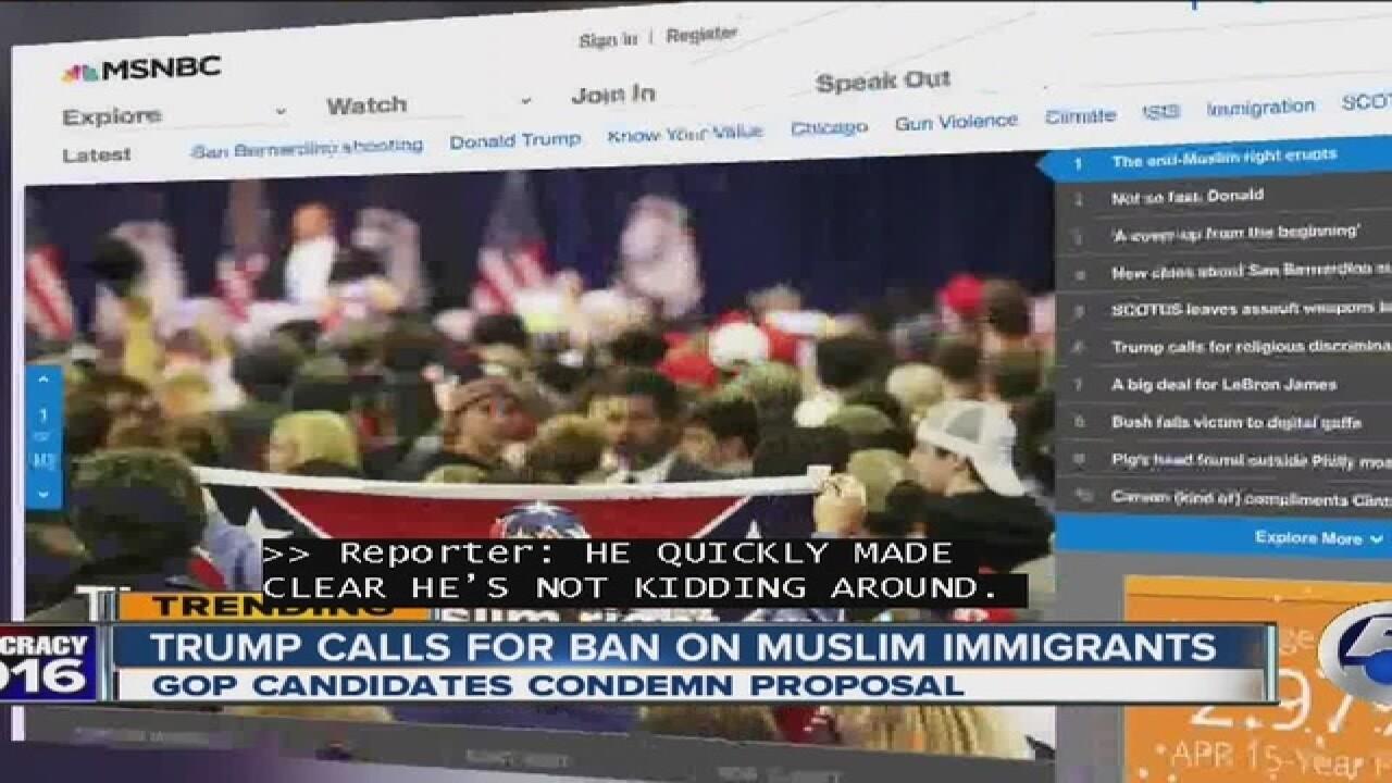 Trump calls for no more Muslims entering U.S.