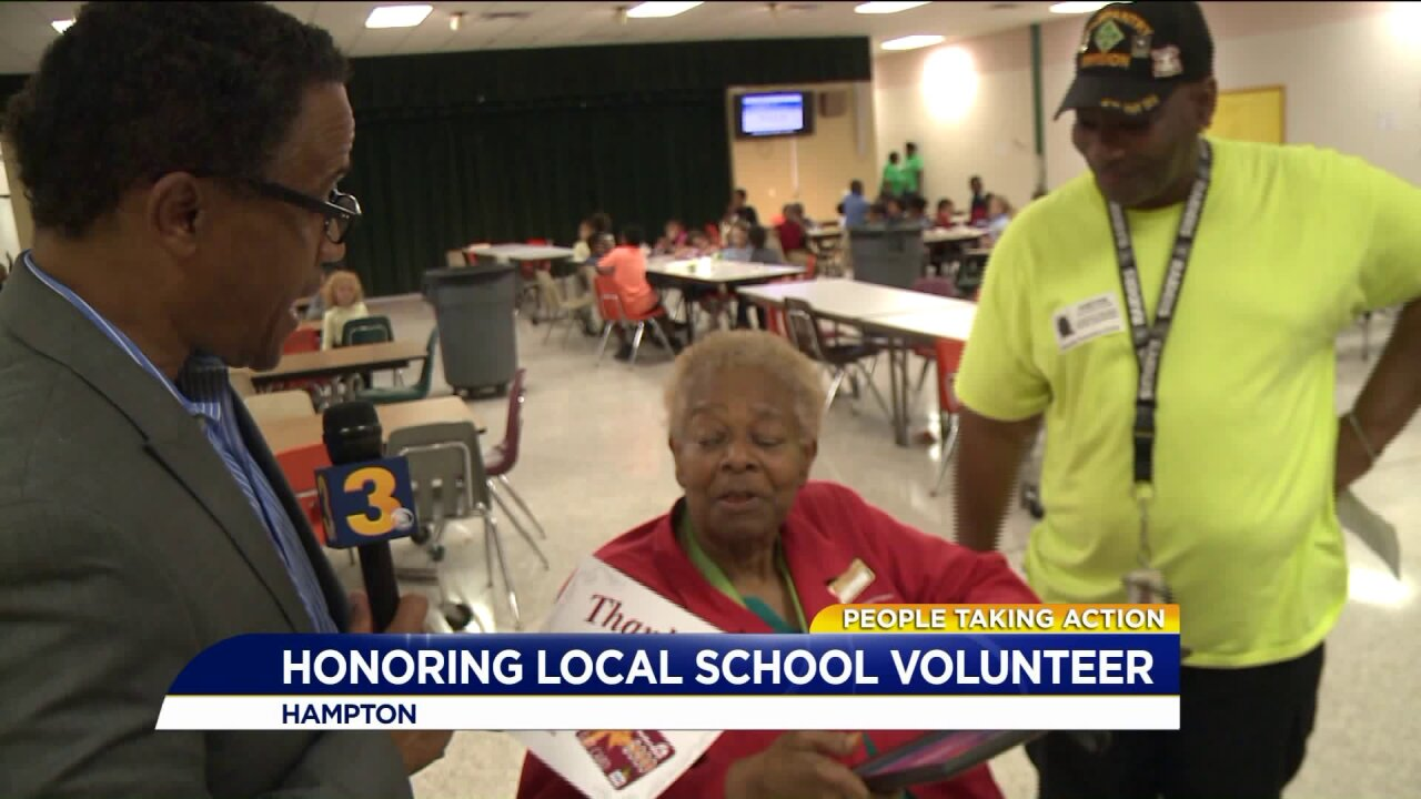People Taking Action: Local grandma is surprised at school where she volunteers as fostergrandparent!