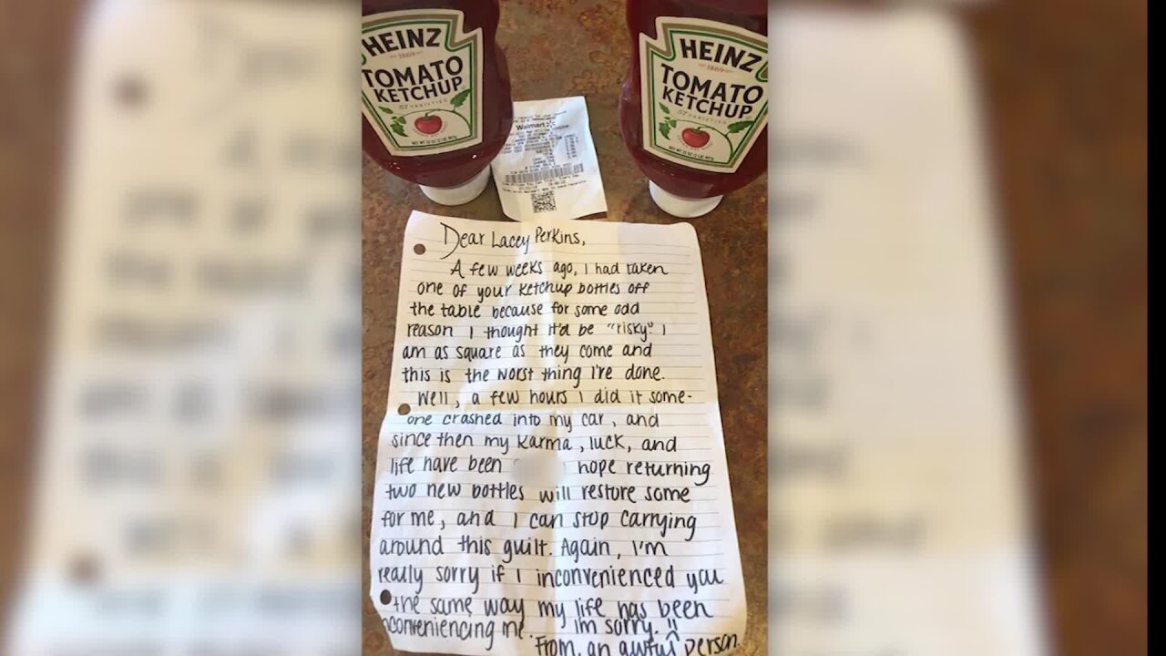 Note from Heinz ketchup thief