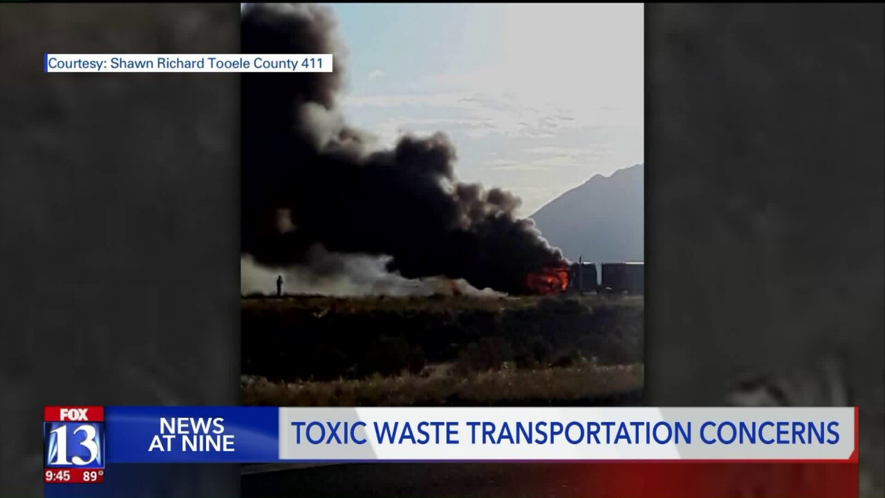 Fire on truck carrying radioactive dirt raises new concerns about shipping toxic waste on Utah's roads