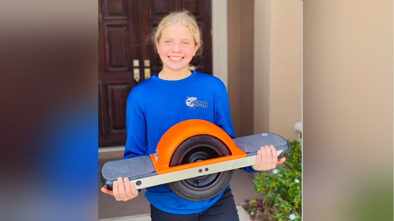 Evelyn McDevitt was reunited with her one wheel electric board