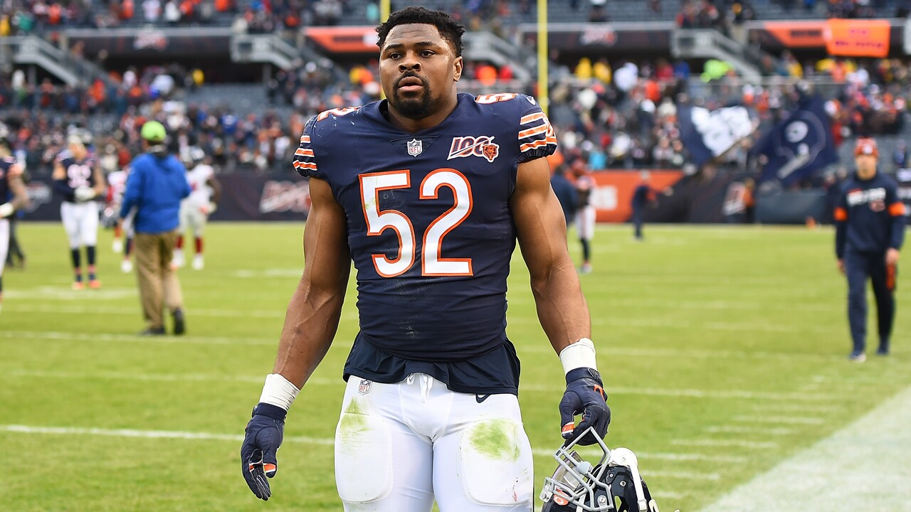 Khalil Mack #52 of the Chicago Bears leaves the field following a game against the New York Giants at Soldier Field on November 24, 2019 in Chicago, Illinois. (Photo by Stacy Revere/Getty Images)