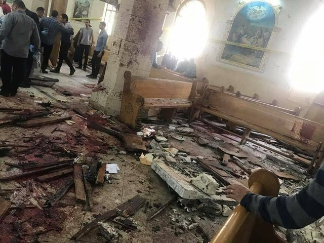 Photos show devastation in Egypt in the moments following Palm Sunday bombing