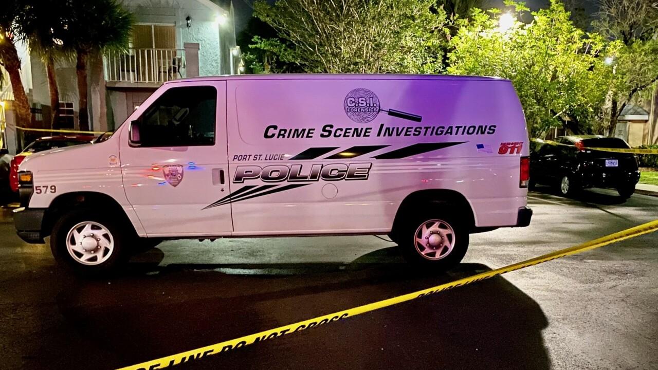 crime scene van outside scene where 2-year-old shot in head in Port St. Lucie
