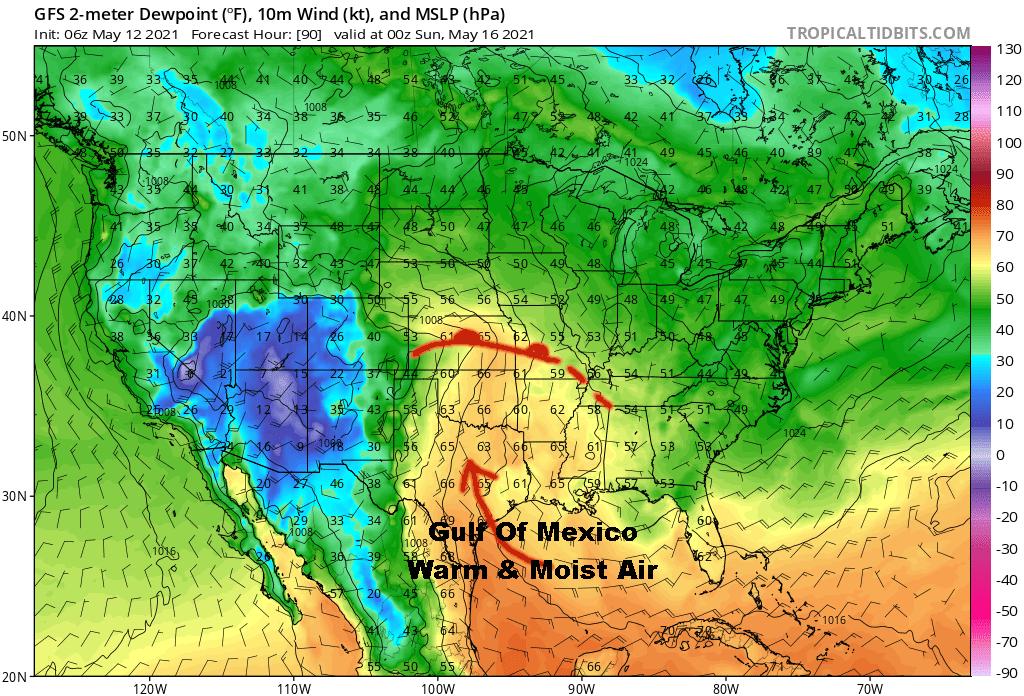 Dew Point Forecast Valid 7 PM Saturday