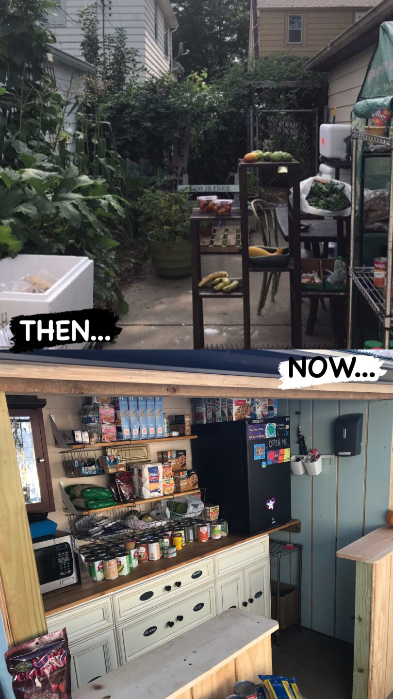 This is what the food pantry looked like on Aug. 27 and on Nov. 11.