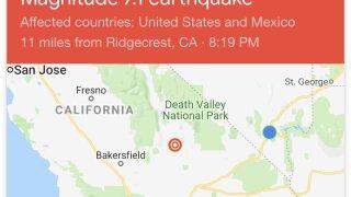 Las Vegas valley feels 7.1 magnitude earthquake in California