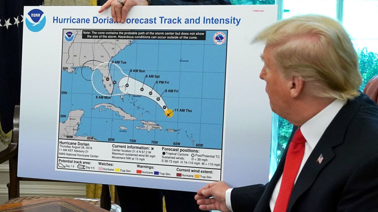 Trump shows altered map after falsely claiming Alabama was in Hurricane Dorian's path