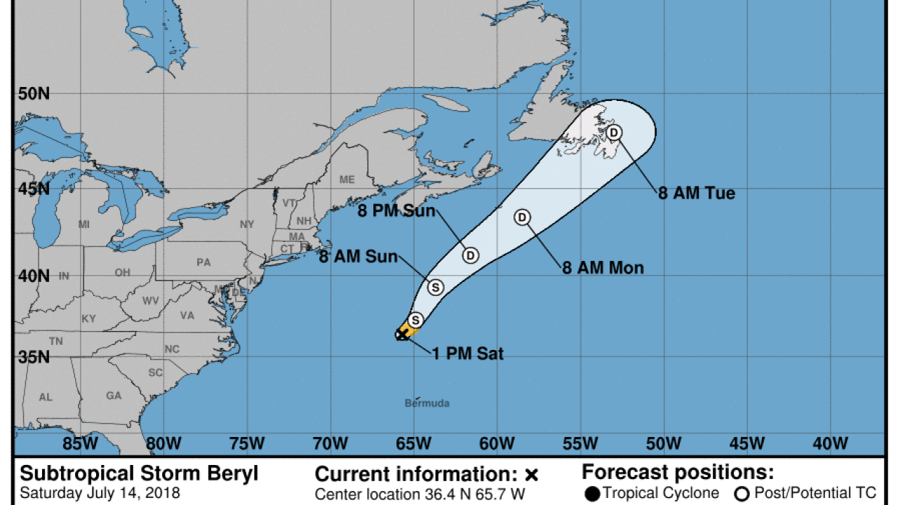 Remnants of Beryl re-develop into subtropical storm