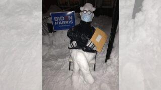bernie sanders meme snowman brooklyn