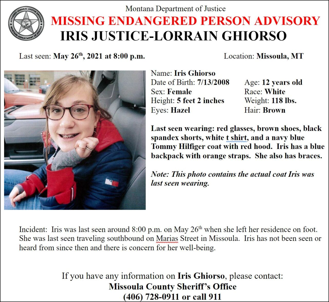 Missing/Endangered Person Advisory for 12-year-old Iris Justice-Lorrain Ghiorso