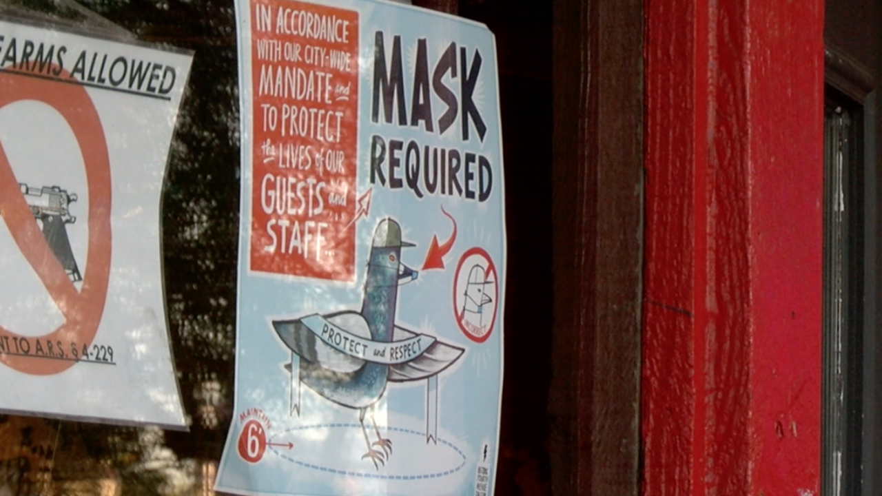 Mask sign at Boca Tacos and Tequila