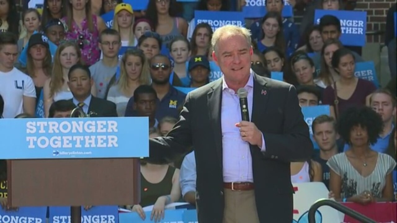 VP candidate Tim Kaine visits Ann Arbor today