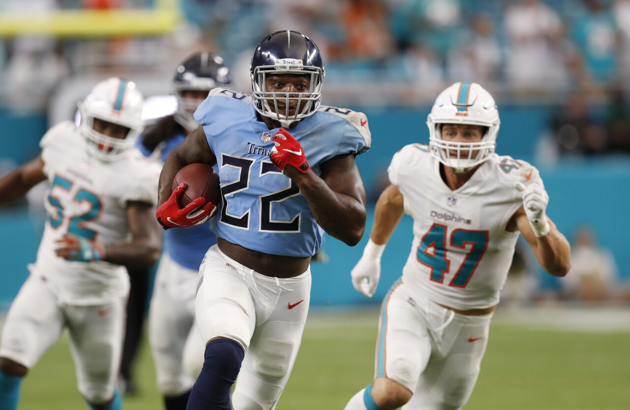 Tennessee Titans running back Derrick Henry at Miami Dolphins in 2018