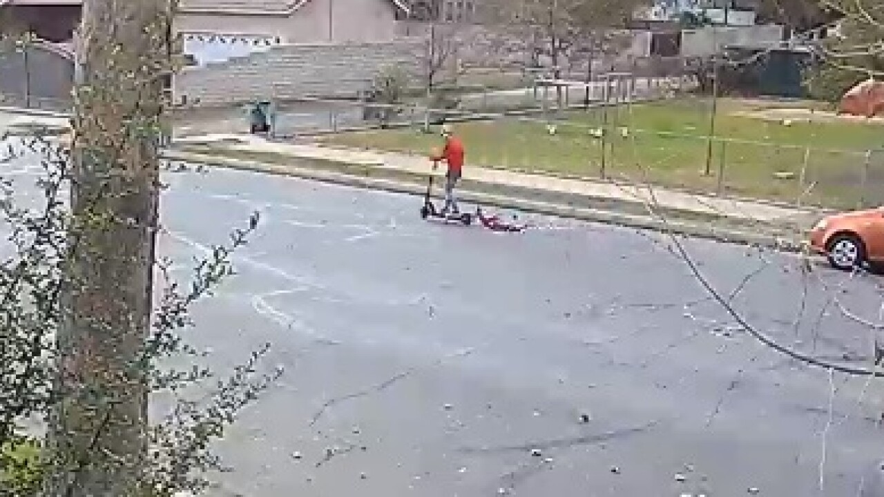 Video appears to show person dragging dog on electric scooter in Downtown Bakersfield