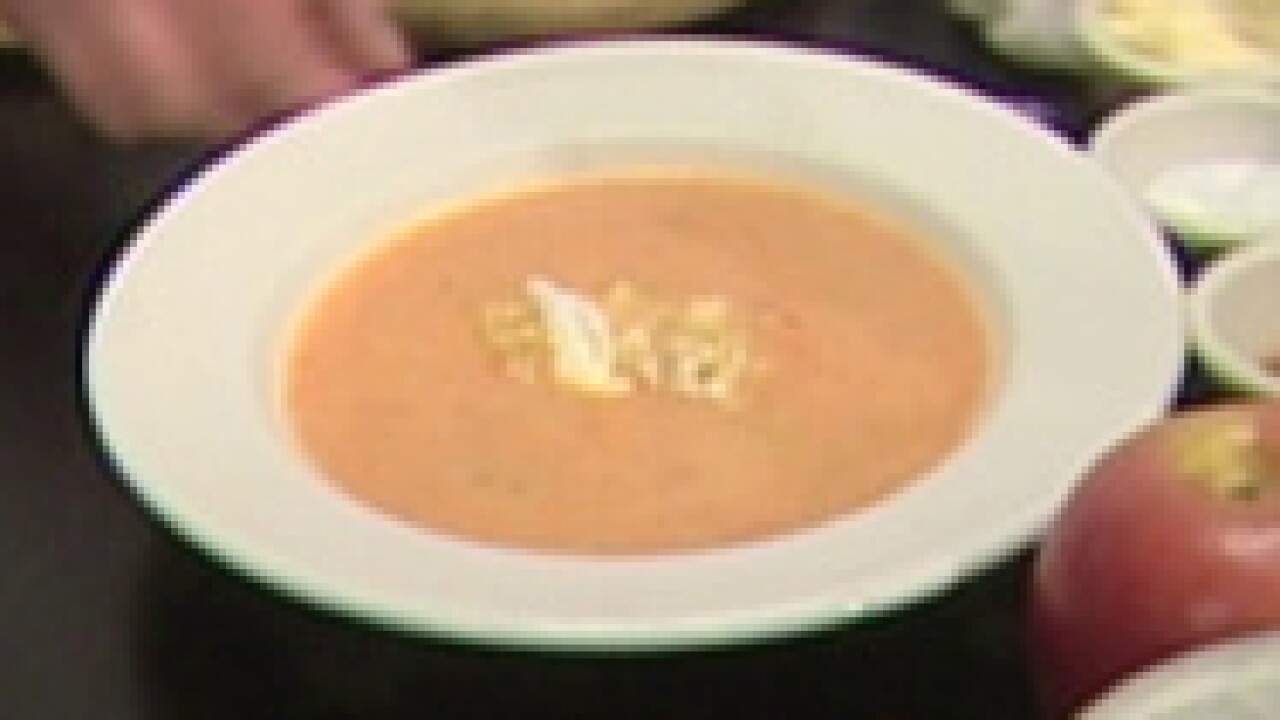 Carrot Ginger Soup with a Spiced Apple Garnish