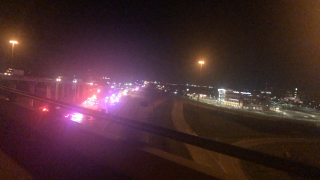 Backup on I-35 due to fiery accident