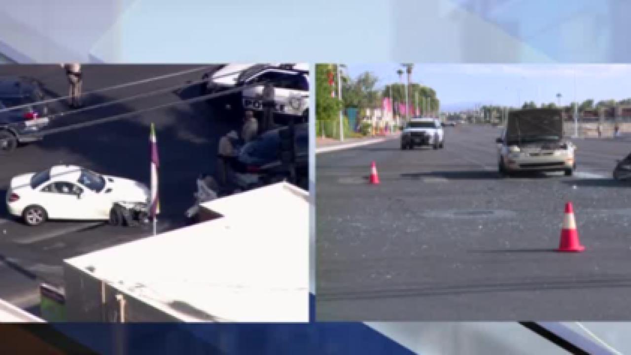Woman injured during crash with Vegas cop