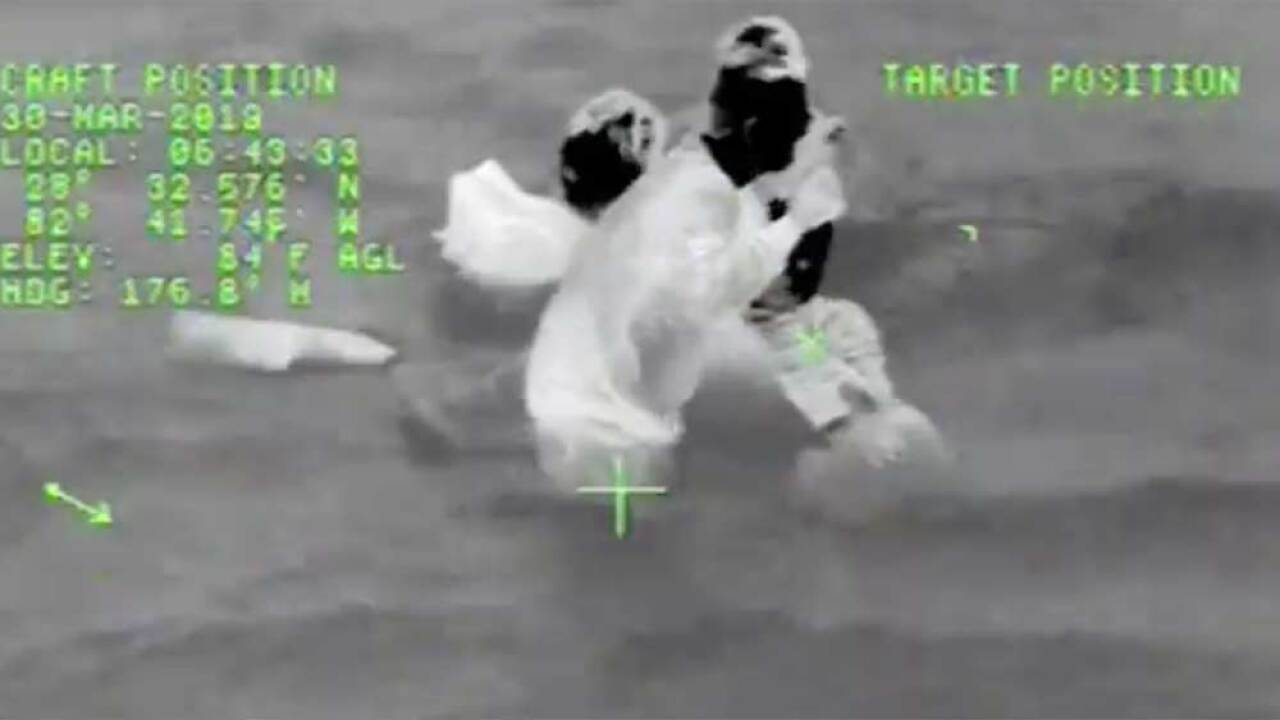 The Coast Guard rescued three men and a 12-year old boy after their boat sank March 30, 2019, 3 miles west of Bayport, Florida.