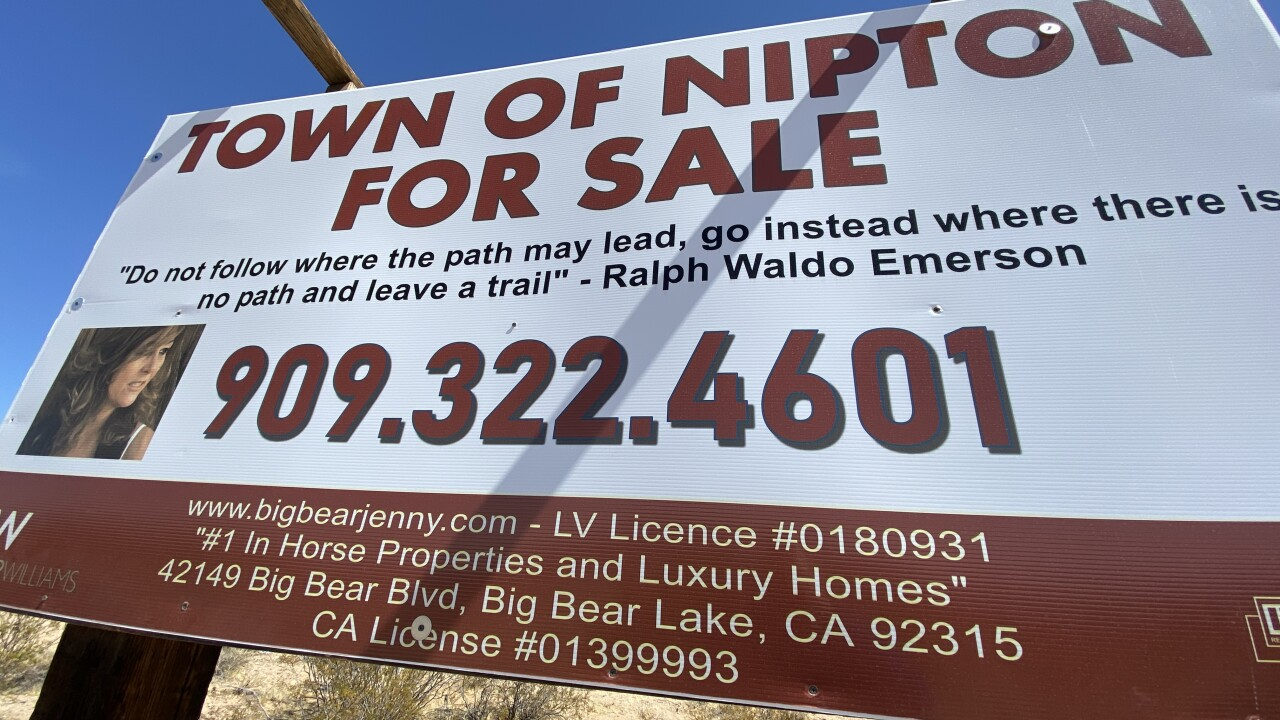 The tiny town of Nipton, Calif, approximately 70 miles south of Las Vegas, is once again on the market after the idea of turning the town into a cannabis consumption destination went up in smoke.