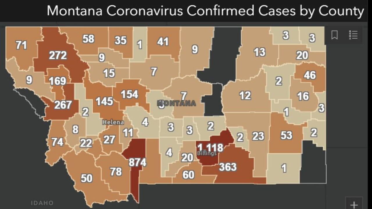 Cumulative COVID-19 cases in Montana as of August 4
