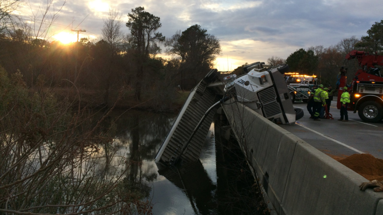 Driver charged after crash leaves dump truck dangling over bridge