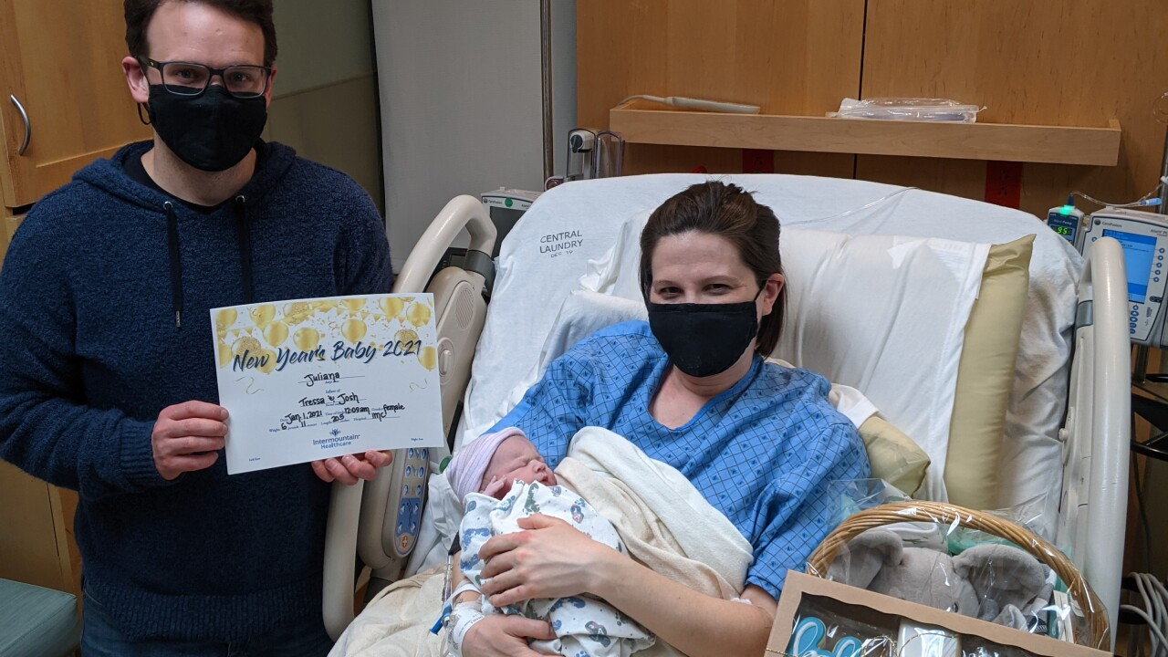 Juliana Harden, a baby born on New Year's Day 2021, and her parents Teressa McMorris and Joshua Harden of South Jordan