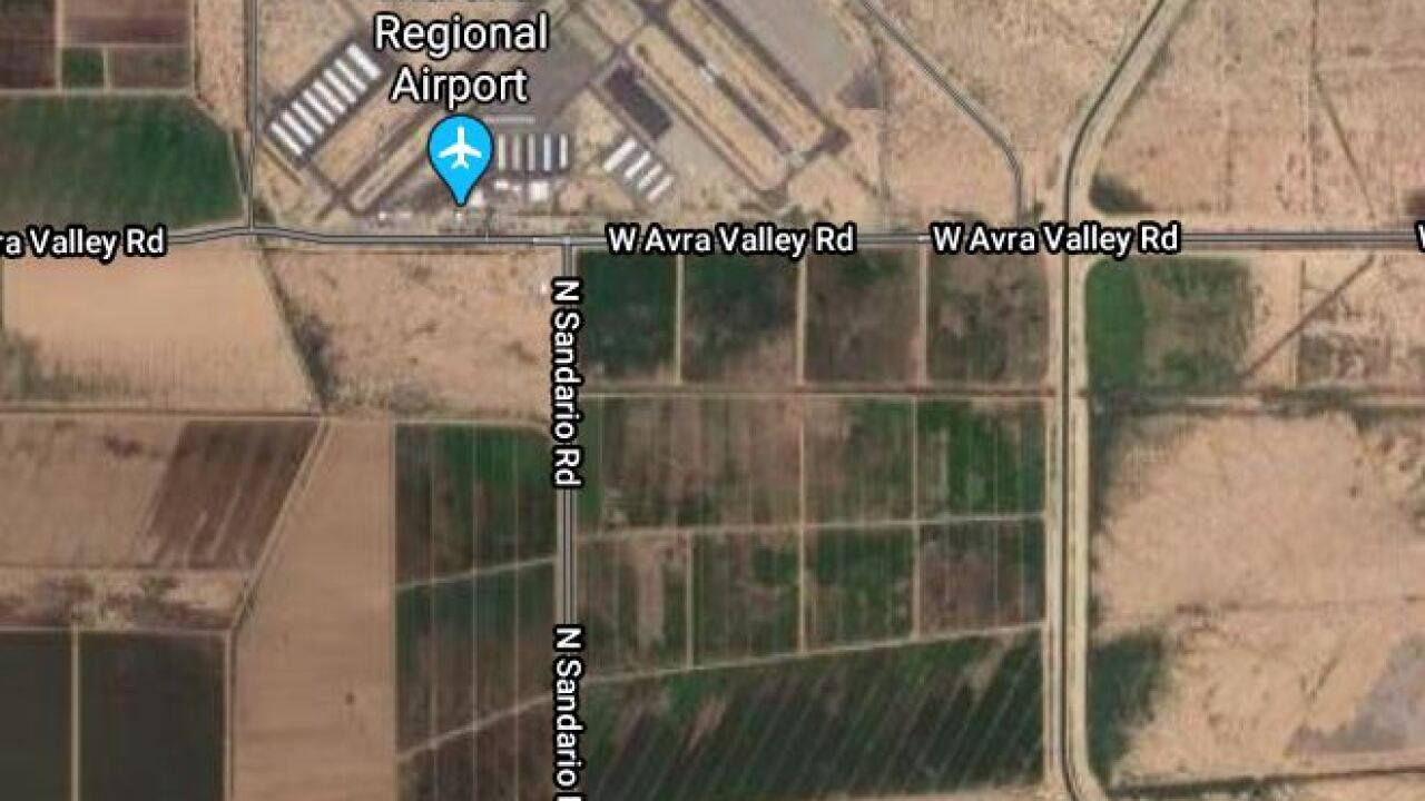 Avra Valley Road was shut down in both directions Friday due to a downed power pole. Photo via Google Maps.