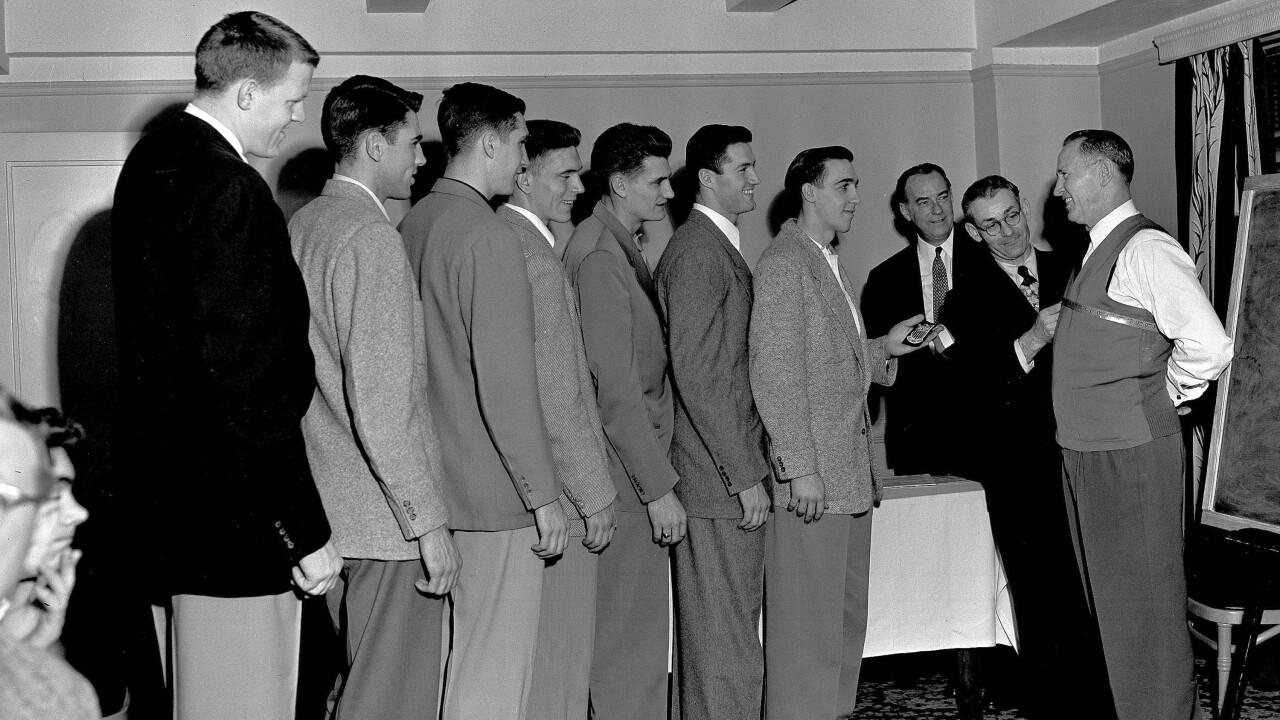Forrest C. Allen, Phog Allen, Clyde Lovellette, Bill Lienhard, Bill Hougland, Bob Kenney, John Keller, Charlie Hoag, Dean Kelley,Dan Kelleher, Matthew Mueller