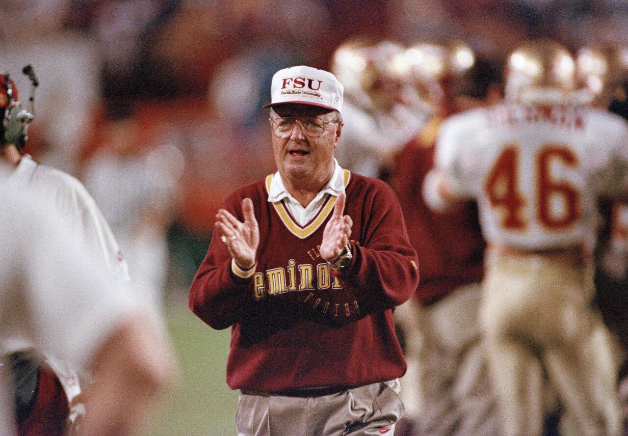 Florida State Seminoles head coach Bobby Bowden claps during 1994 Orange Bowl