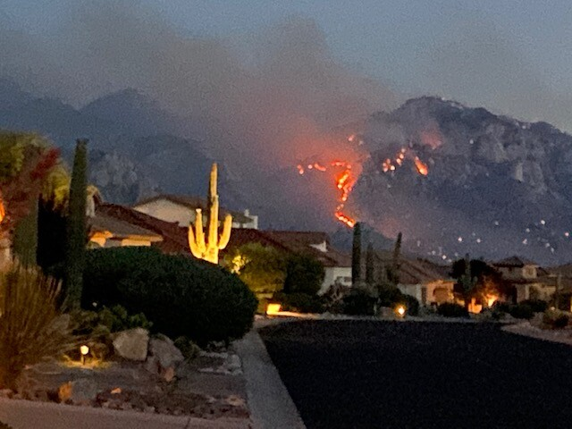 The Bighorn Fire from the front yard of a residence in Saddlebrooke