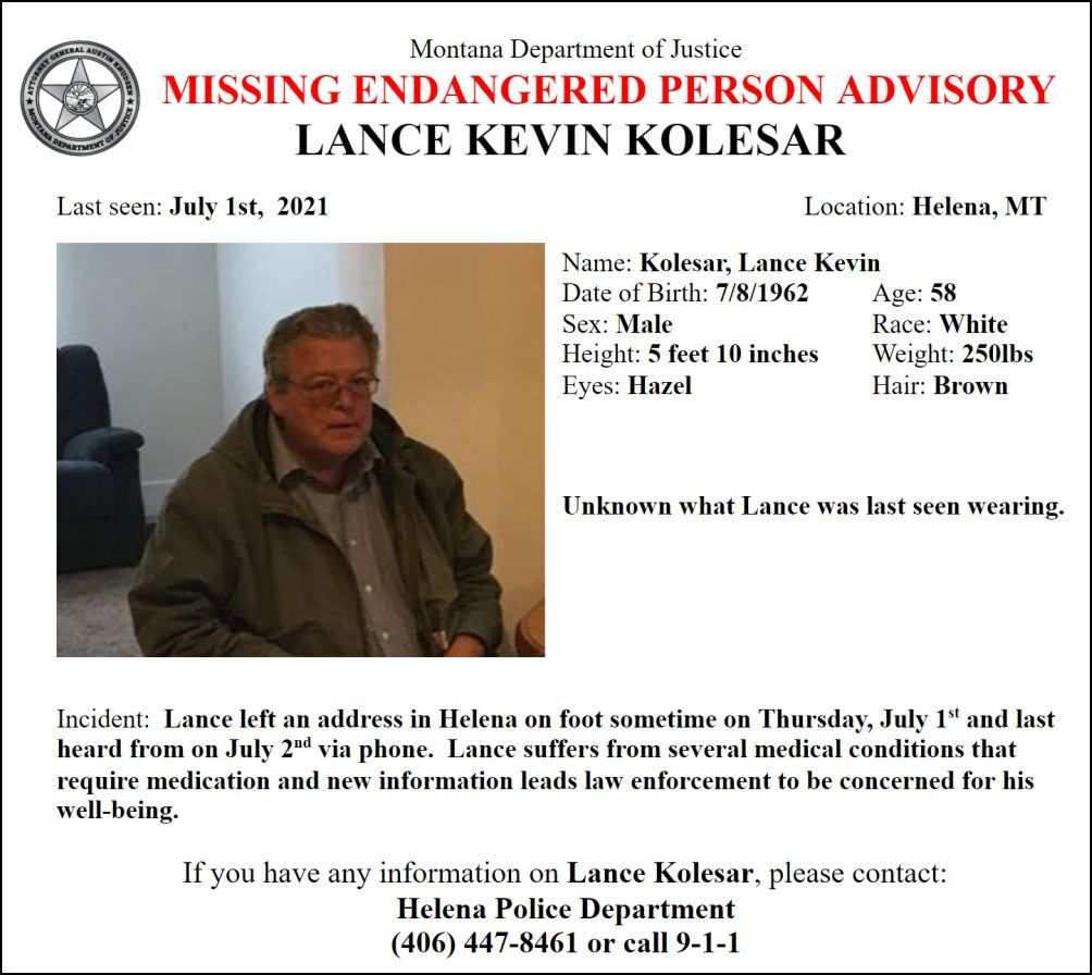 A Missing/Endangered Person Advisory has been issued for Lance Kevin Kolesar on behalf of the Helena Police Department.