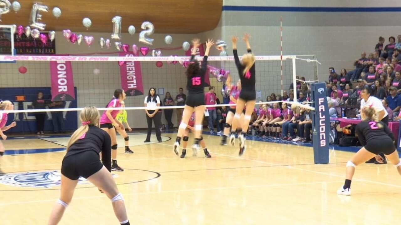 Billings Senior, Billings Central, Huntley Project earn volleyball wins on Pack the Place in Pink