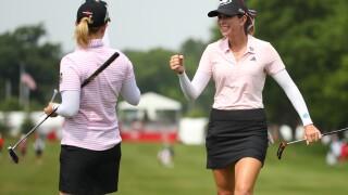 Morgan, Creamer tied for lead in LPGA Tour team event in Michigan