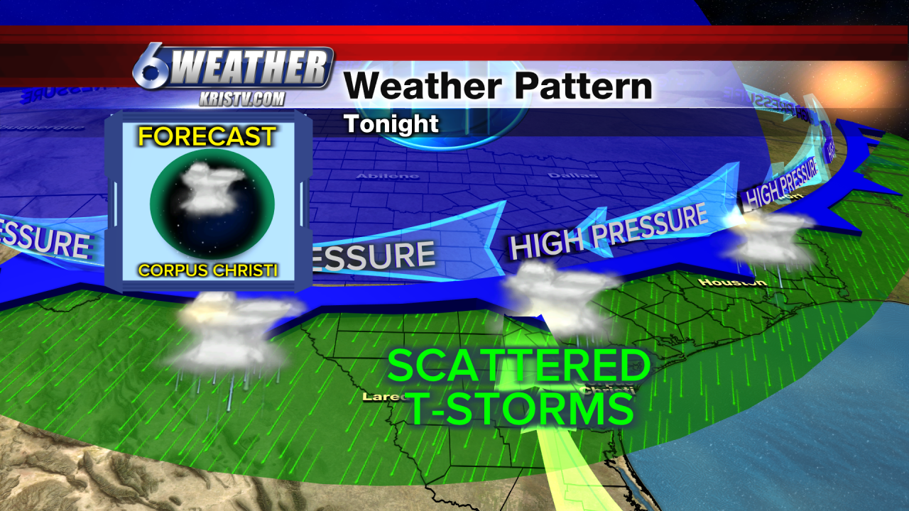 KRIS6 Weather Pattern Tonight as Cold Front Moves In