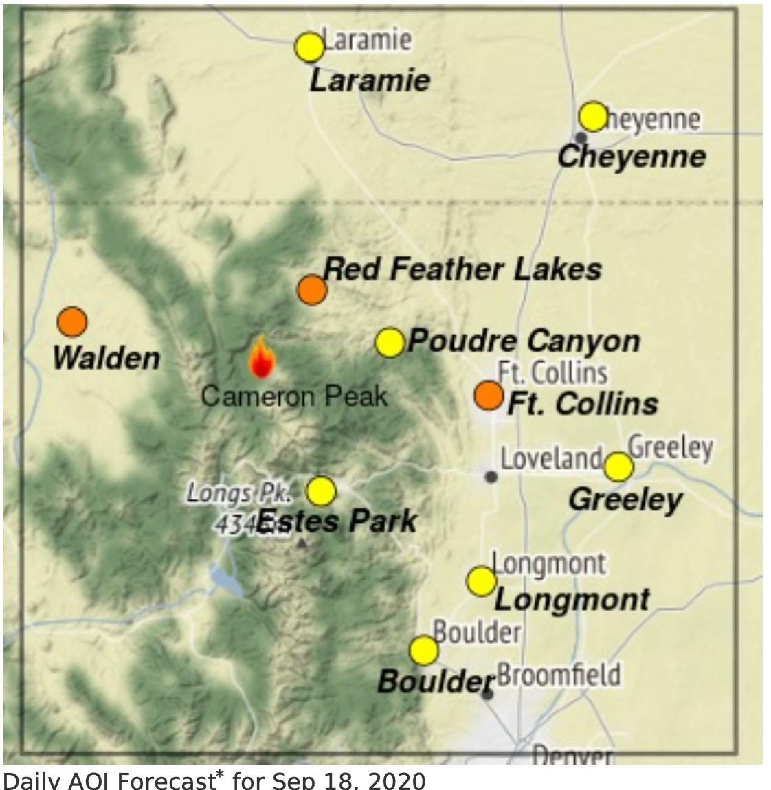 Cameron Peak Fire smoke map_Sept 18 2020