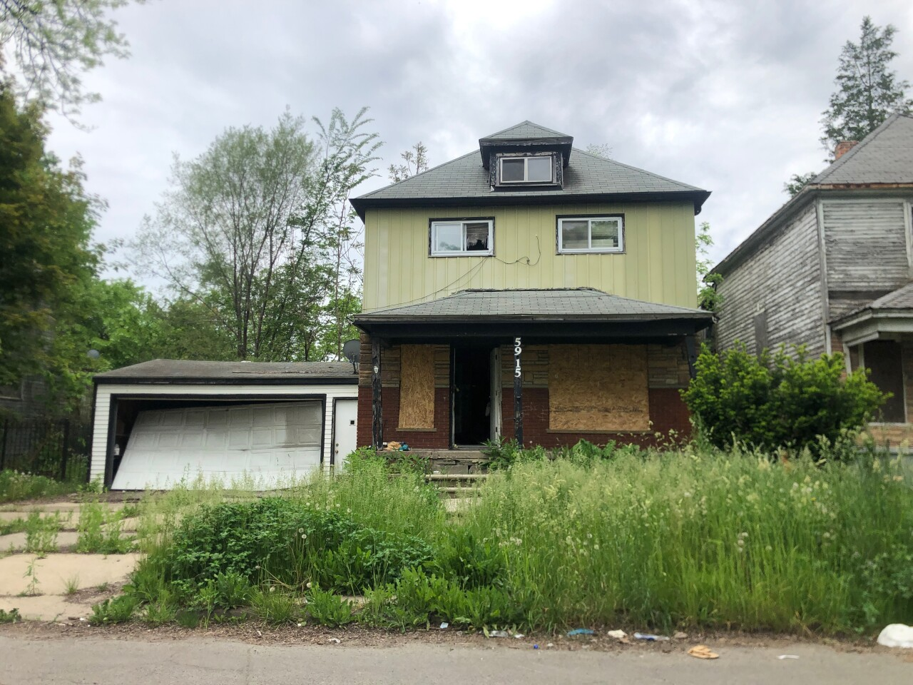 5915 Vancourt, a property purchased by Sam Jaser at the 2018 Wayne County Tax Auction for $500, on May 27, 2020.