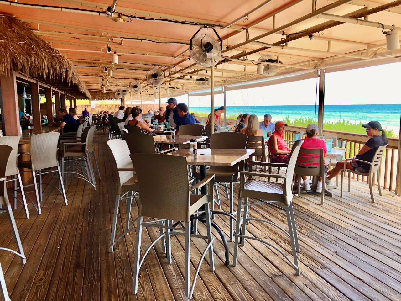 Shuckers on the Beach has dining available inside and outside with an ocean view.