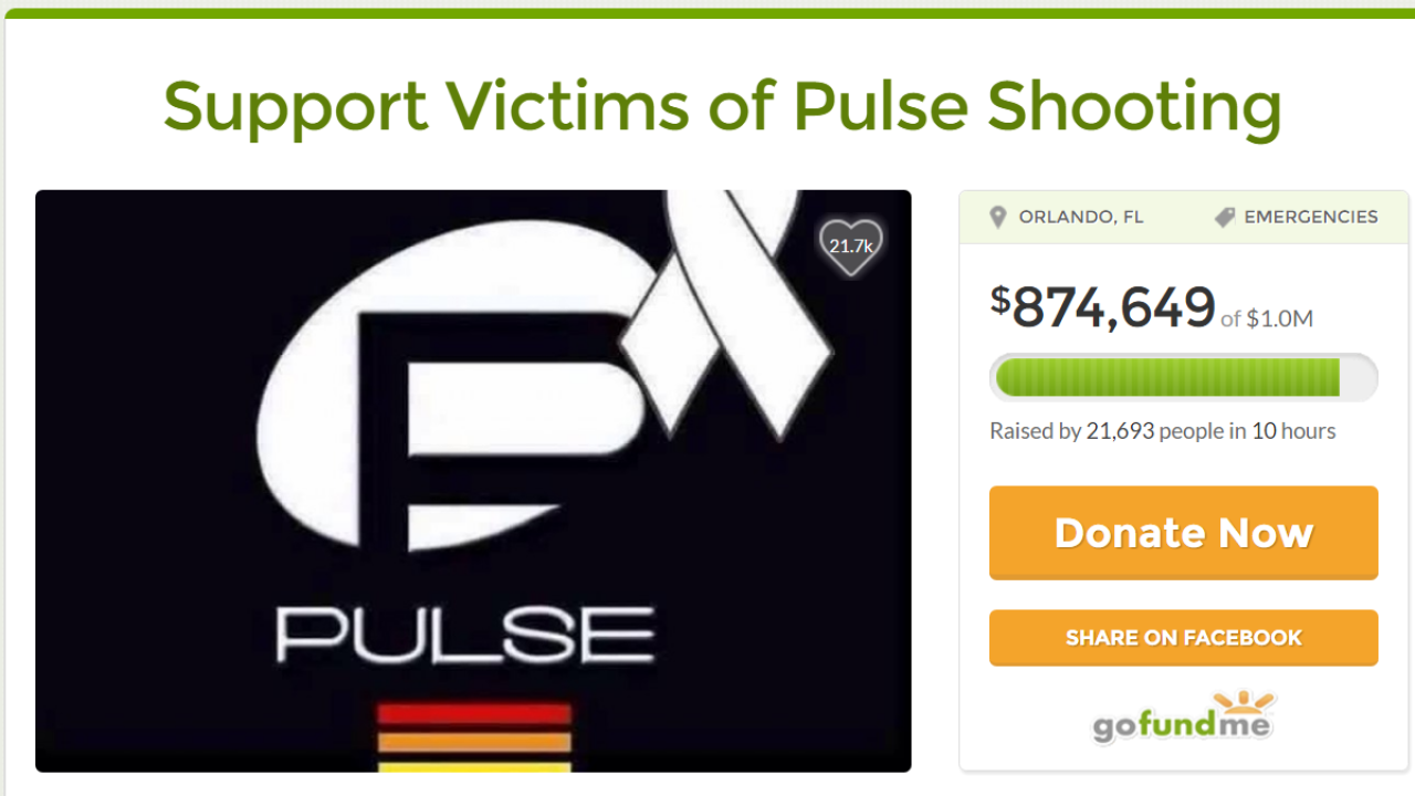GoFundMe campaign raises more than $1 million for Pulse shooting victims