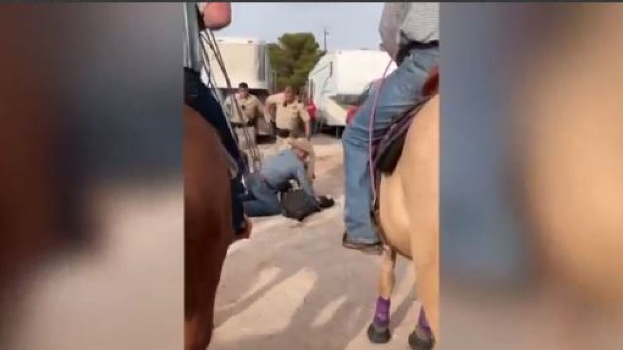 Las Vegas police say a group of cowboys assisted officers in taking down a suspect car thief