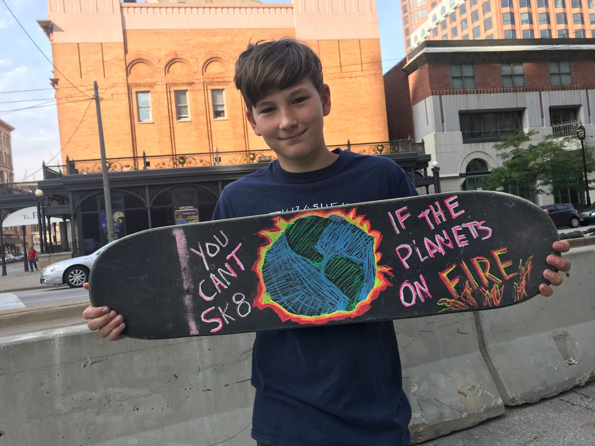 Photos of people marching in the youth climate strike.
