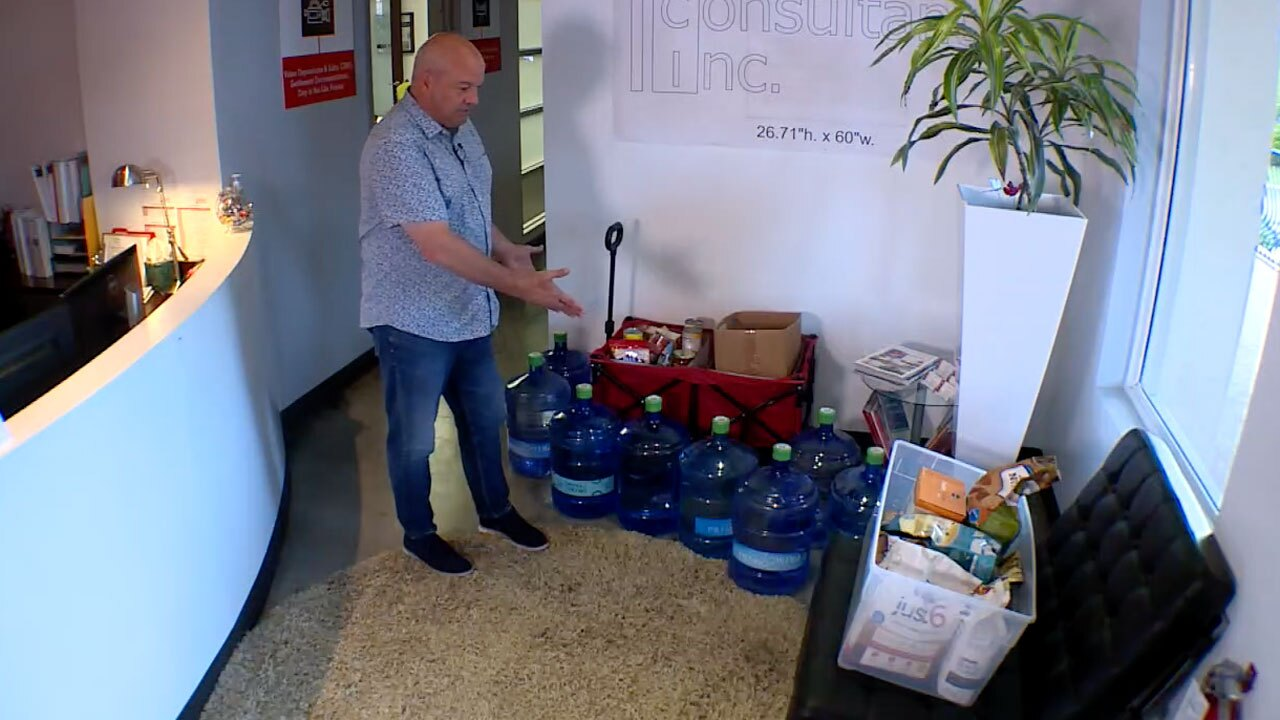 Jim Lucas, owner of Legal GraphicWorks taking donations for Hurricane Ida victims