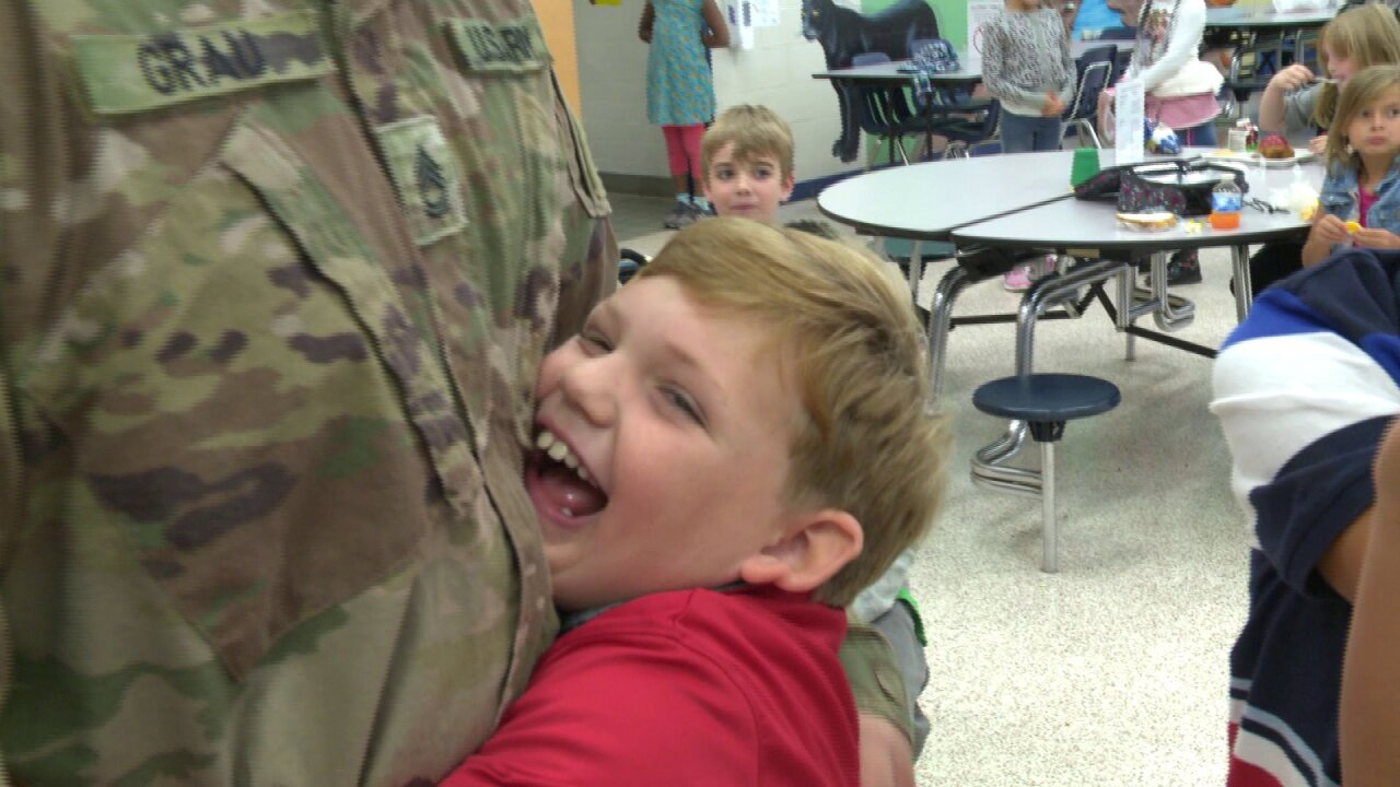 Virginia Beach Soldier surprises his children at school after deployment